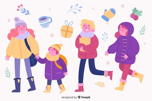 Mensen dragen winter kleding pack
