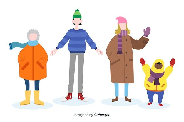Mensen dragen winterkleren