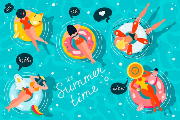 Mensen drijvend op opblaasbare matrassen in een zwembadset, bovenaanzicht, vrouwen die ontspannen en zonnebaden op verschillende vormen opblaasbare ringen. .