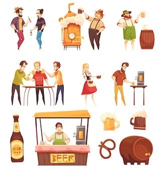 Mensen drinken bier set