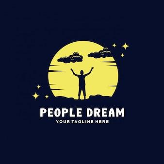Mensen dromen in het nachtlogo