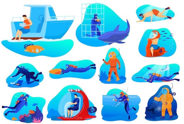 Mensen duiken illustraties, stripfiguur duiker in duikbril pak verkennen onderwater koraalrif, zwemmen met vis