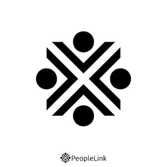 Mensen eenheid logo met de eerste letter x teken. logo sjabloon