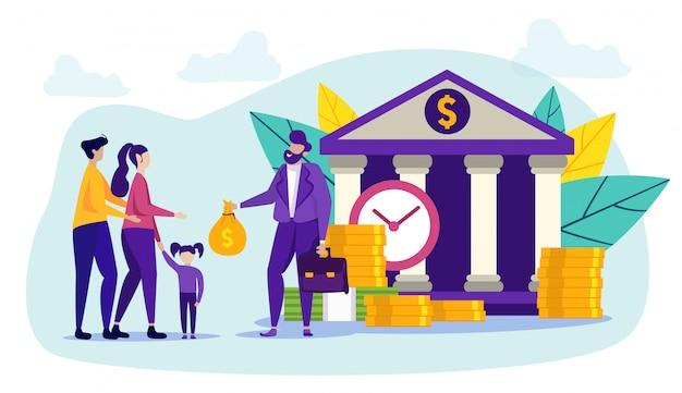 Mensen en bankmedewerkers. cash bijdrage