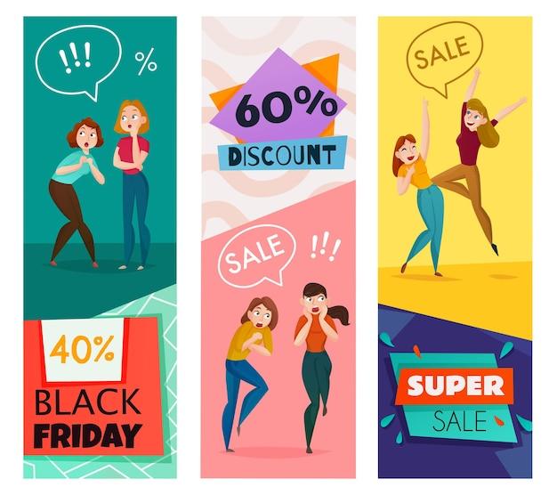 Mensen en emoties verticale spandoeken met verkoop- en kortingssymbolen platte geïsoleerde vectorillustratie