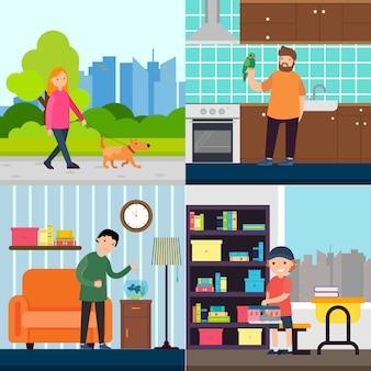 Mensen en huisdieren concept