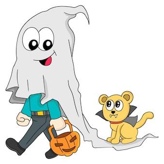 Mensen en hun huisdieren vieren halloween. cartoon illustratie sticker emoticon