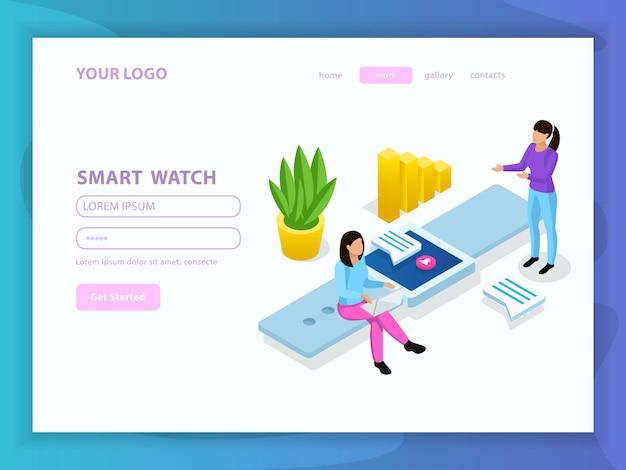 Mensen en interfaces isometrische samenstelling met aan de slag knop menu en slimme horloge kop illustratie