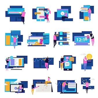 Mensen en interfaces plat pictogrammen collectie van geïsoleerde mensen