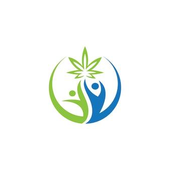 Mensen en marihuana blad pictogram ontwerp sjabloon illustratie