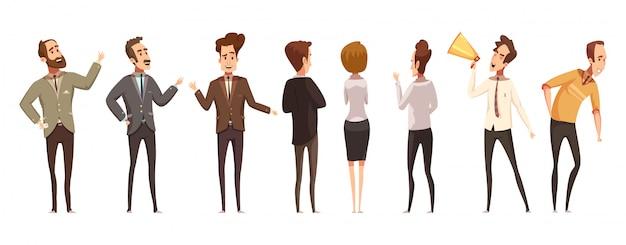 Mensen en online vergaderingspictogrammen geplaatst beeldverhaal geïsoleerde vectorillustratie