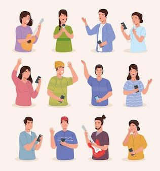 Mensen en pictogrammen muziek