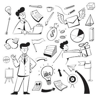 Mensen en pictogrammen voor de website van het marketingbureau