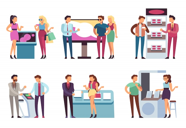 Mensen en product staan. promotors promoten producten bij mannen en vrouwen met promotionele beursstands. tentoonstelling vector set