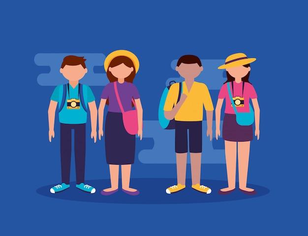 Mensen en reizen in vlakke stijl
