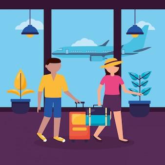 Mensen en reizen plat ontwerp