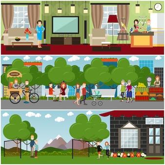 Mensen en relaties platte poster of banner set