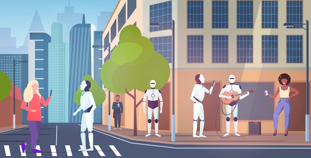 Mensen en robotachtige personages lopen stad straat robot spelen gitaar kunstmatige intelligentie technologie concept stadsgezicht achtergrond horizontale volledige lengte