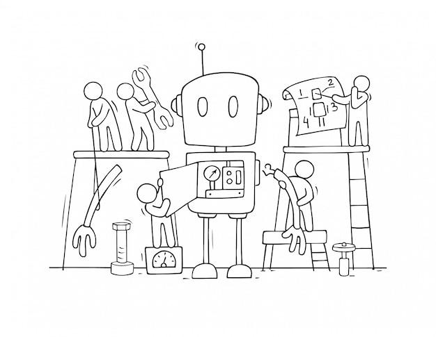 Mensen en schattige robotconstructie gemonteerd