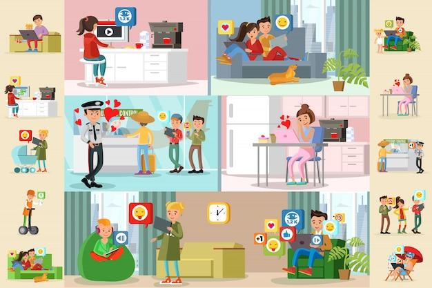 Mensen en sociale netwerk horizontale brochures
