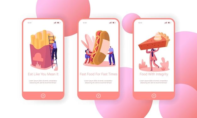 Mensen en straat junkfood mobiele app-schermset aan boord
