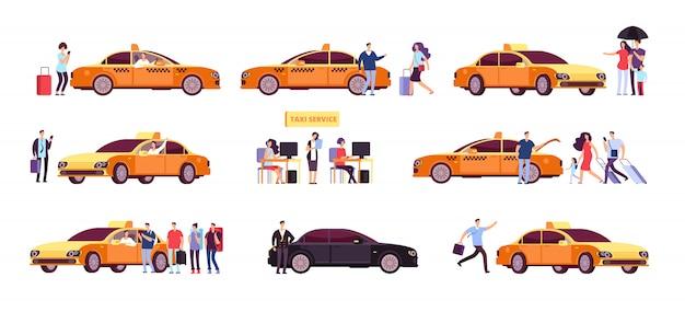 Mensen en taxi. taxichauffeurs passagier en auto in rit.