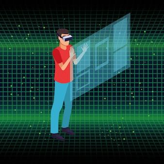 Mensen en virtual reality briltechnologie