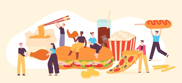 Mensen eten fastfood. kleine mannen en vrouwen genieten van junkfood, pizza, popcorn, chips en gebakken kip. lekker straat café maaltijd vector concept. illustratie fastfood, karakter eet voeding