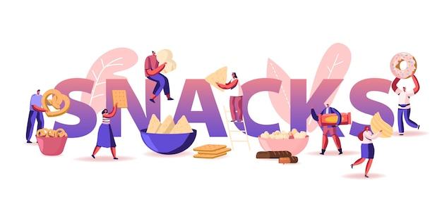 Mensen eten snacks concept. cartoon vlakke afbeelding