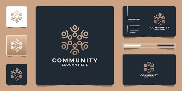 Mensen familie samen menselijke eenheid met geometrische zeshoek logo-ontwerp
