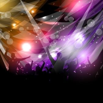 Mensen feestvreugde silhouet op een abstracte achtergrond