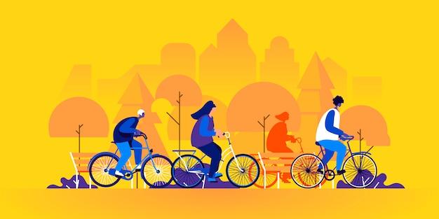 Mensen fietsen. jonge mannen en vrouwen op fietsen in park
