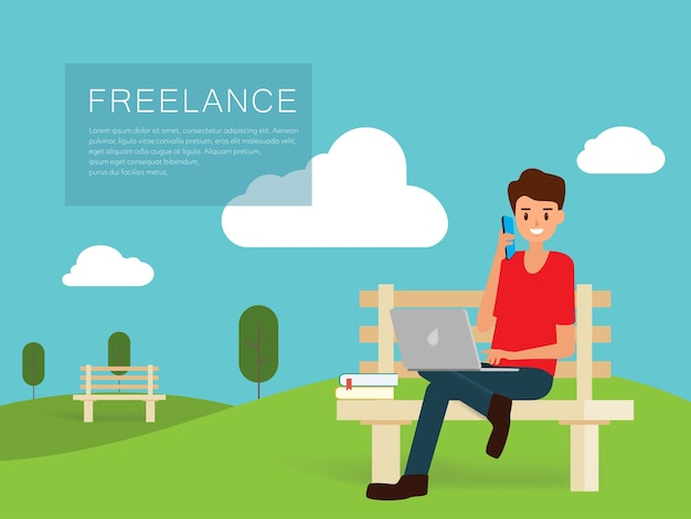 Mensen freelance werkkarakter en levensstijl.
