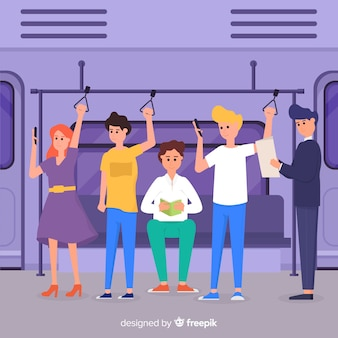 Mensen gaan in de metro