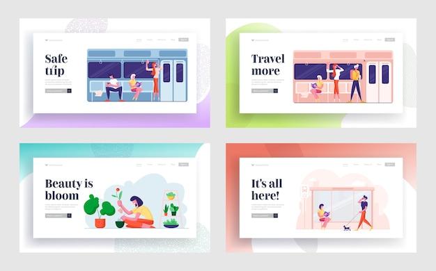 Mensen gaan met de metro, wachten op bushalte, tuinieren hobby website bestemmingspagina set.