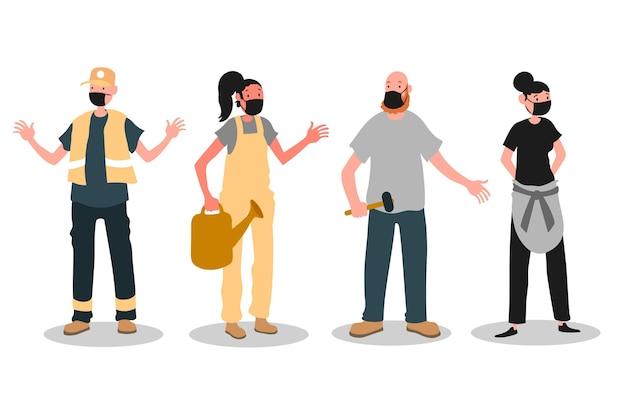 Mensen gaan weer aan het werk terwijl ze gezichtsmaskers dragen