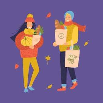 Mensen gaan winkelen bij de kruidenierswinkel. vrouwen en man met boodschappentassen en pompoen. herfststemming. vlakke afbeelding op een achtergrond in kleur. echtpaar in warme gebreide kleding.