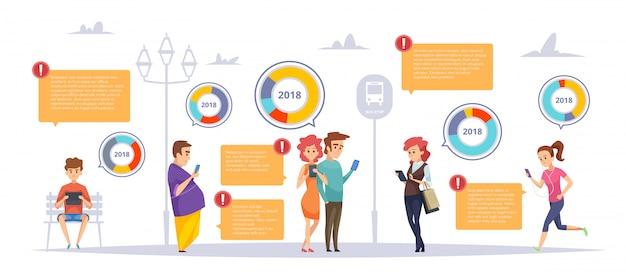 Mensen gadgets infographic sjabloon