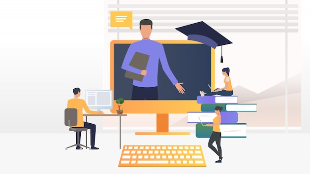 Mensen gebruiken computers en studeren op online school