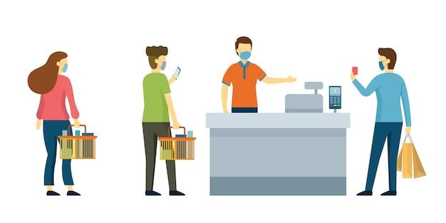 Mensen gebruiken contactloos betalen voor aankopen, sociale afstanden,