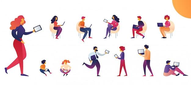Mensen gebruiken de vector cartoon van tabletten en laptops.