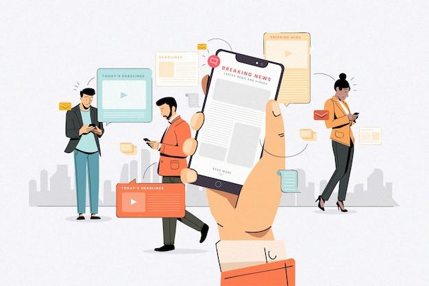 Mensen gebruiken hun mobiele telefoon voor het nieuws