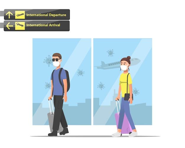 Mensen gebruiken maskers op de luchthaven