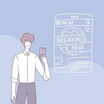 Mensen gebruiken smartphones om in hun dagelijks leven nieuws te ontvangen.