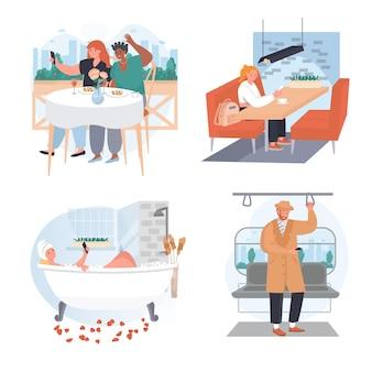 Mensen gebruiken smartphones op verschillende locaties conceptscènes instellen vectorillustratie van karakters