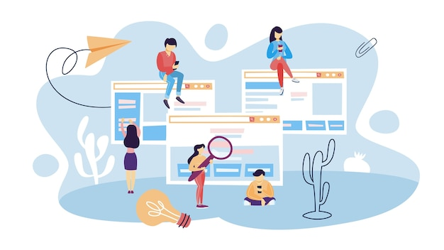 Mensen gebruiken website. surfen op internet, nieuws lezen, informatie zoeken en communiceren met vrienden via netwerk. idee van digitale technologie. illustratie
