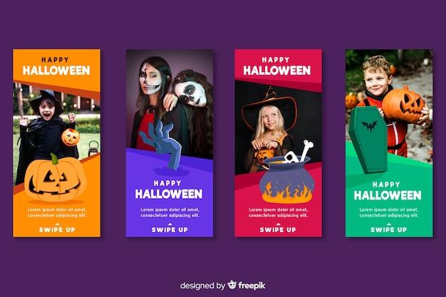 Mensen gekleed in halloween-kostuums instagram-verhalen
