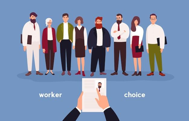 Mensen gekleed in kantoorkleding staan in rij voor persoon met cv in handen.