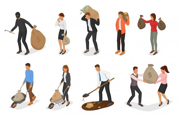 Mensen geld vector rijkdom zakenman vrouw persoon karakter bedrijf tas met munten contant geld valuta
