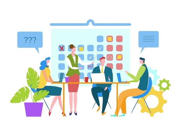 Mensen gemarkeerd op kalender belangrijke data, illustratie. zakelijke teamwerkvergadering, planning van evenement en agenda volgens schema